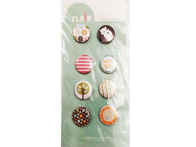 American Crafts Flair Badges, Blue Skies Miss You, Set of 8 #70047