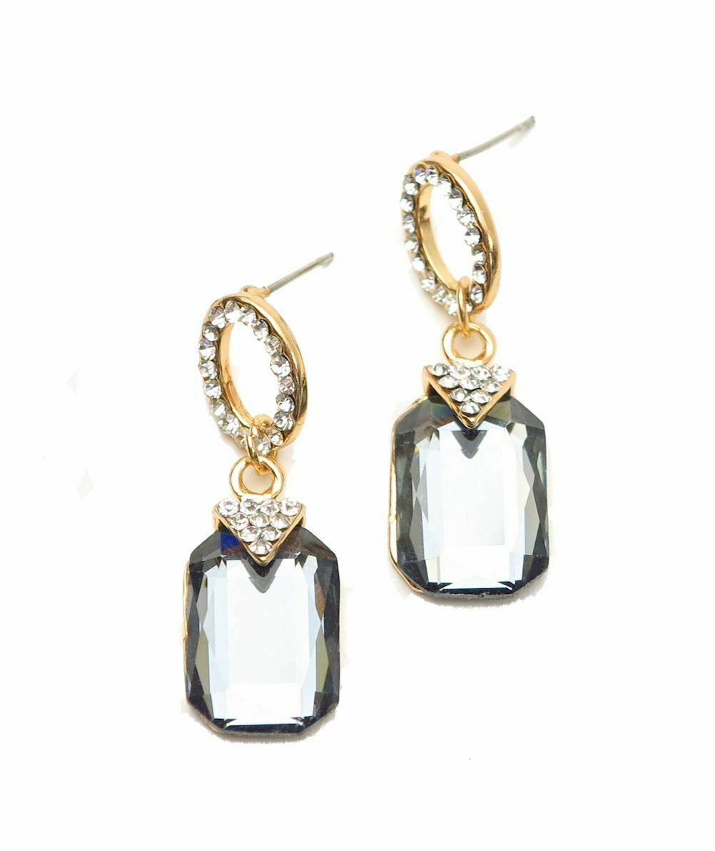 Primary image for Emerald Cut Gray Crystal Rhinestone Drop Dangle Earrings Wedding