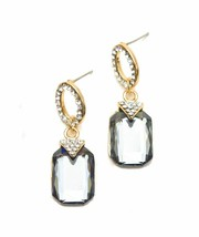 Emerald Cut Gray Crystal Rhinestone Drop Dangle Earrings Wedding - $19.00
