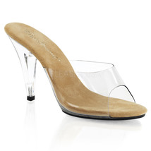 "PLEASER Sexy Shoes 4"" High Heel Clear Slip On Shoes Slippers Sandals CAR... - $36.95"