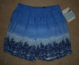 New Mens Club Room Charter Club Swim Trunks XL Blue Tropical Beach Shorts - $18.69