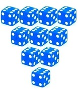 Set of 10 Six Sided D6 16mm Standard Square Edged Dice Die Blue With Whi... - $5.99