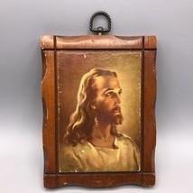 """Vintage Kriebel & Bates Litho Jesus Christ 6"""" x 8"""" Wood Frame - $34.64"""