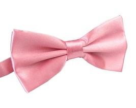 Men's Pre Tied Wedding Party Fancy Plain Necktie Bow Ties,Dark Pink - $14.71