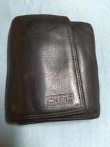 Fossil vintage brown leather wallet men's bilfold - $13.00