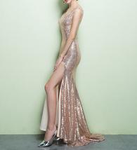 ROSE GOLD Sequin Maxi Dress Mermaid Slit Maxi Sequin Dress Plus Size Sequin Gown image 3