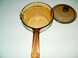 """Vision Usa Corning Ware Pot Saucepan Amber 1L 1 Qt Pour Spout W Lid 6-1/4"""" D - $31.68"""