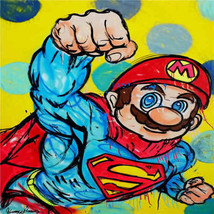 Timmy Sneaks Oil Painting on Canvas Wall Decor Graffiti art Super Mario ... - $31.67
