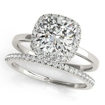 14k White Gold Plated 925 Sterling Silver Cushion Cut CZ Bridal Wedding Ring Set - $83.45
