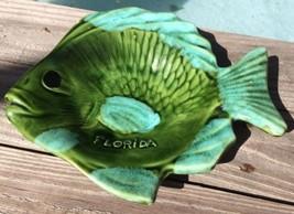 """RARE VINTAGE FLORIDA SOUVENIR COLLECTOR SEAFOAM GREEN POTTERY BOWL DISH 9"""" - $26.72"""