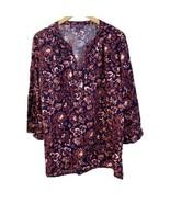 Gloria Vanderbilt Batik Stamp Peasant Shirt Bell Sleeve Navy Nova Blouse... - $16.82