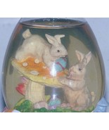 Easter bunny musical Snow Globe, hand painted resin, egg shaped dome - $7.46