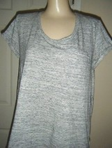 CYNTHIA ROWLEY HEATHER GRAY SHORT SLEEVE STRETCH COTTON KNIT TOP SIZE L - $19.34