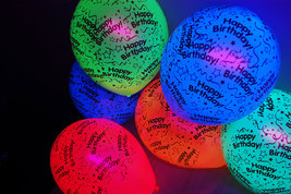 50 Pack Neon Assorted 11 inch Blacklight Reactive Latex Happy Birthday B... - $27.95