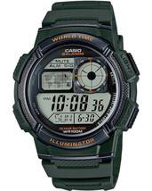 Casio AE1000W-3AV Men's Green Resin Band 5 Alarms Chronograph World Time... - $22.65