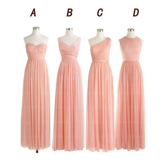 pink bridesmaid dress,chiffon bridesmaid dress,mismatched bridesmaid dress