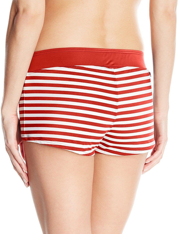 d267ec0466 NEW Tommy Hilfiger Swimwear Sailing Stripes Boyshort Bikini Bottom RED  white S