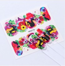 HS Store - 1Pcs WG-2115 Flower Designs Nail Sticker Water Transfer DIY - $2.23