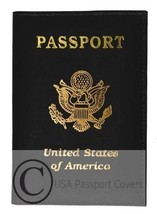 Genuine Leather Gold Print Eagle Passport Cover Holder Wallet - $5.95