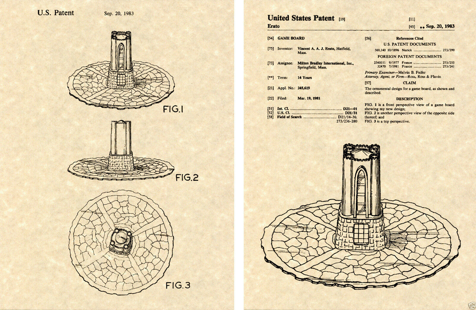 Primary image for DARK TOWER GAME PATENT Art Print READY TO FRAME!!!! 1981 Milton Bradley board
