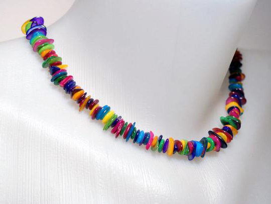 Handmade Colorful Mother of Pearl Necklace Aniversary Gift