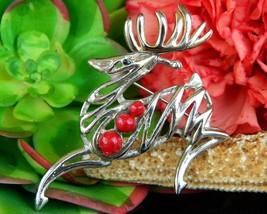 Vintage Reindeer Deer Stag Leaping Figural Brooch Pin Christmas Silver - $10.95