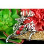 Vintage reindeer deer stag leaping figural brooch pin christmas silver thumbtall