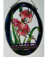 """Pink Lily Sun Catcher AMIA Hand Painted Glass 7"""" x 5"""" New Lilies Flowers... - $28.70"""