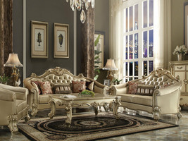 Traditional Gold Wood Trim & Ivory Faux Leather Living Room Sofa Couch S... - $3,279.71