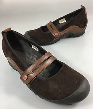 Merrell Womens 7 Plaza Bandeau Espresso Brown Suede Mary Janes Shoes Slip-On - $47.53