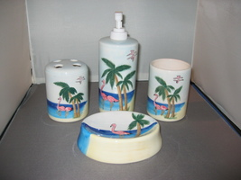 Tropical Ceramic Bath Set - £15.71 GBP