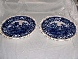 2 Vintage Copeland Spode Blue Tower China Dinner Plates Gadroon Older NICE - $64.35
