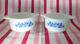 Charming Vintage 1960's Blue Daisy Pyr-O-Rey Dynaware Casserole Dishes •... - $16.00