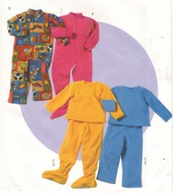 Toddlers Fleece Knit Lounge Wear Footed Jumpsuit Top Pants Sew Pattern 2-5 - $12.99