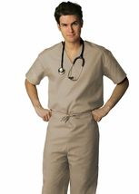 Scrub Set  Khaki VNeck Top Drawstring Pants 2XL Adar Medical Uniforms 2 Piece image 4