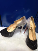 Black&Sliver Stones Wedding Shoes Dance Party Heels Red Bottom Rhinestone Shoes - $145.00
