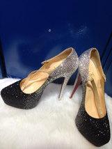 Black&Sliver Stones Wedding Shoes Dance Party Heels Red Bottom Rhineston... - $145.00