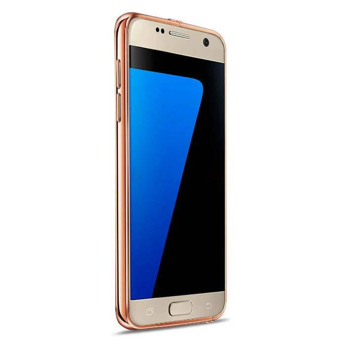 Metal Bumper + Acrylic Mirror Case with Stand for Samsung Galaxy S7 - Rose Gold
