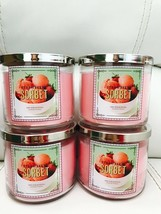 4x New Bath Body Works Strawberry  Sorbet  3 Wick Large Candle 14.5oz - $98.01