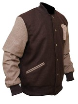 Mens Hotline Miami Brown Appealing Woolen Bomber Varsity Jacket image 2