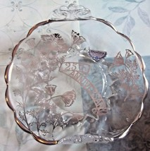 Sterling Silver Overlay Floral Pattern Crystal 25th Anniversary Candy Dish - $8.59