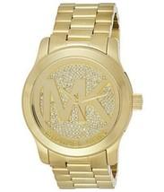 Michael Kors MK5706 Runway   Gold Dial MK Logo Crystal Pave  Dial 45mm Watch - $98.00