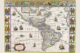 New Map of the Americas by Willem Blaeu - Art Print - $19.99+