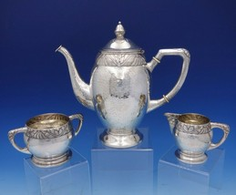 Danish Sterling Silver Coffee / Tea Set 3-Piece Hammered Art Deco Band (... - $1,358.10