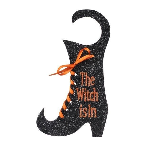 The Witch Is In Door Hanger Plaque Halloween Decor Grasslands