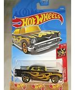 2019 Hot Wheels #9 HW Flames 6/10 '57 CHEVY Black Variant w/Gold 5 Spoke... - €5,92 EUR