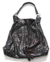 $450 BULGA Bag Brown Leather Drawstring Tassel Gold Studded - Large Size - $68.61