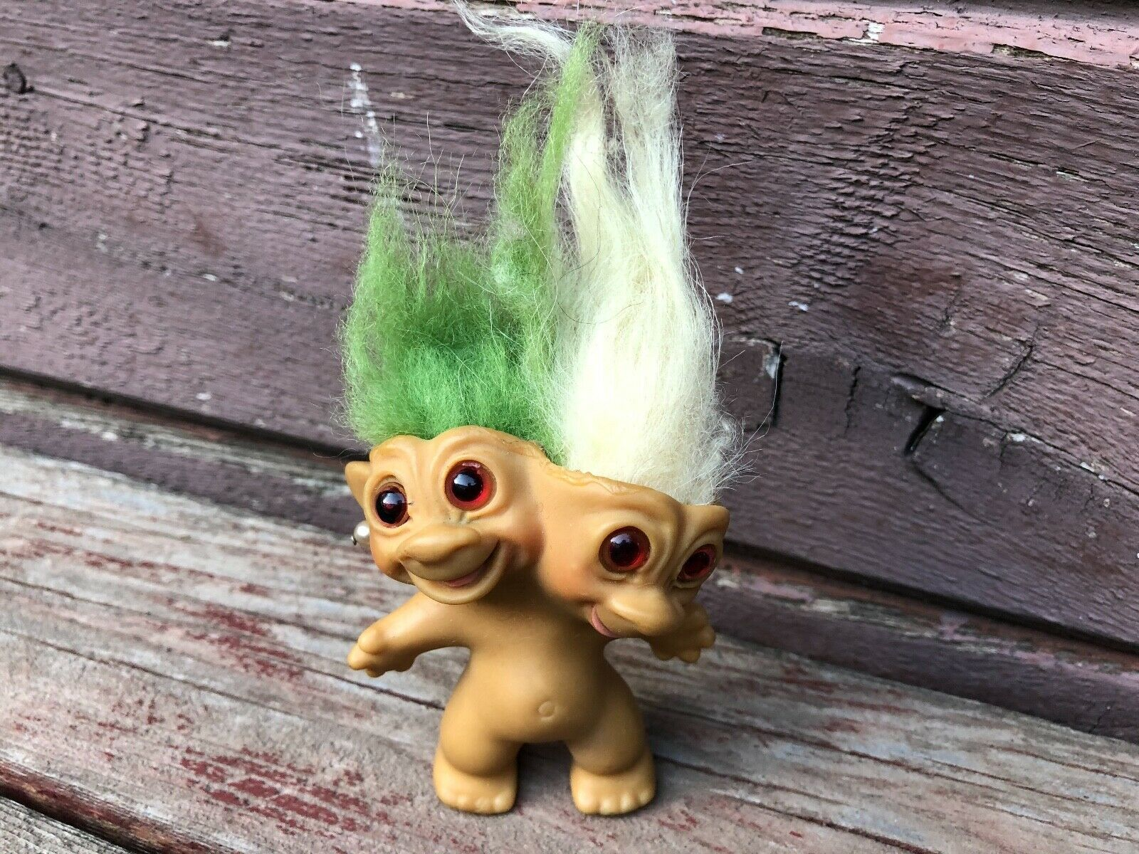 Vintage 1965 Uneeda Two Headed Troll Doll w Earrings Green / White