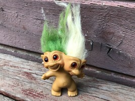 Vintage 1965 Uneeda Two Headed Troll Doll w Earrings Green / White  image 1