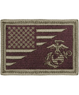 US Flag American USMC Globe & Anchor Marines Olive Drab Patch Hook & Loop - $5.99